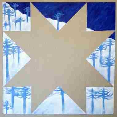 Wünelfe, 2021, Técnica mixta sobre lino crudo, 100 x 100 cm